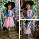 Embroidery 12 Months Denim Cowgirl Dress for Girls Pink Dress Barn Wedding Outfit for Girls