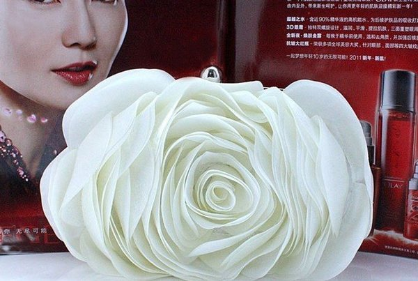 Off White Clutch for Women White Purse Bridal Elegant Evening Shoulder Bags