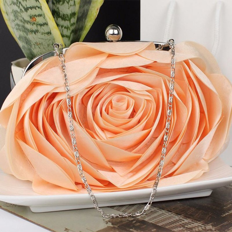 Peach Clutch for Women Peach Wedding Purse Bridesmaids Elegant Evening Shoulder Bags