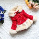 Red Coat Faux Fox Fur Coat for Toddler Girls Super Soft Overcoats for Kids