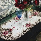 Small Ivory Cream Table Cover Kitchen Decorations Embroidery Rose 40cmx80cm