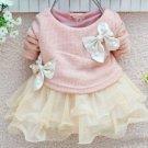 Preemie Pink Baby Dress Long Sleeve Cotton Tunic for Newborn Girls Baby Shower Gift