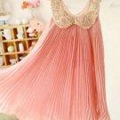 Cute Princess Dress Summer Sleeveless Pink Dress with Golden Peter Pan Collar