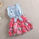 Floral Dress Denim Summer Dress for Girls Printed Floral Tutu Dress with Bow