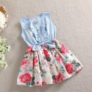 Casual Summer Dress Beige Floral Dress Denim Dress for Girls Dresses with Bow
