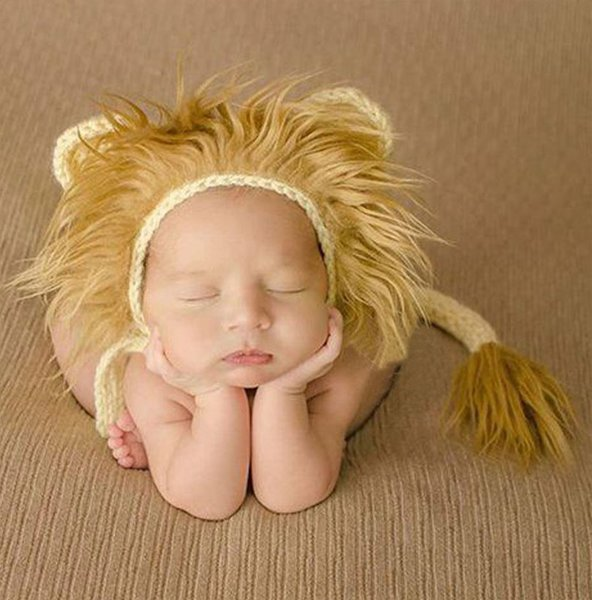 Crochet Lion Hats Furry Props for Newborn Baby Boys Photography Props