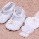 Baby Shoes for Newborn Girls First Walkers Baby Shoes with White Headband with Pearls Rhinestones