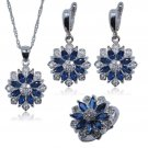 925 Sterling Silver Jewelry Set Capri Blue Necklace  Earrings and Size 7 Ring for Women