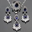 Sapphire Blue Stones White CZ 925 Sterling Silver Jewelry Sets For Women Drop Earrings