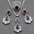Wedding Accessory Ruby Stones 925 Sterling Silver Red Jewelry Sets For Women Drop Earrings
