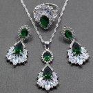 Wedding Accessory Emerald Stones 925 Sterling Silver Green Jewelry Sets For Women Drop Earrings