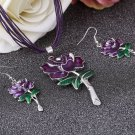 Purple Necklace and Earrings 2018 Jewelry Set Casual Leather Ropes for Cowgirl Rose Pattern