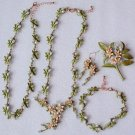 Peach Jewelry Set Blossom Floral Pearls for Women Summer and Spring Jewelry Sets