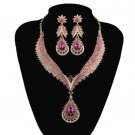 Prom Pink Bridesmaids Jewelry Set  AB Crystal Bridal Jewelry Sets for Women's Party