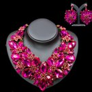 Bijoux Chunky Jewelry Set Gift Party Statement Pink Necklace Earring For Women