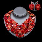 Mother of The Bride Jewelry Set Unique Elegant Red Jewelry  Wedding Gift Party Statement For Women