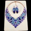 Capri Blue Stoned V-Shape Crystal Set Wedding Prom Accessory Jewelry Set