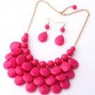 Chunky Pink Bib Statement Jewelry Set Pink Choker with Matching Pink Earrings