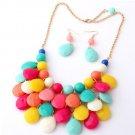 Chunky Multi-colored Bib Statement Jewelry Set Multi-colored Choker with Matching Earrings