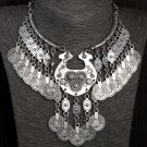 Beautiful Ethnic Choker for Women Antique Silver Set Coin Vintage Tassel Jewelry Sets Women