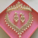 New Bridal Pearl Jewelry Sets for Women 3 Pcs Wedding with Tiara Natural Freshwater Pearl Jewels