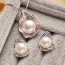 White Pearl Necklace with Matching White Earrings 925 SS Precious Bridal Jewelry Set for Women