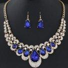 Fashion Bib Necklace Sapphire Blue Jewelry Set Accessories for Women