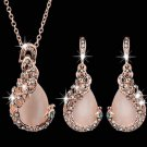 Rose Gold Plated Peacock Necklace Earrings Jewelry Set for Women