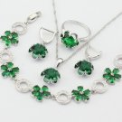 FREE Bracelet with Earrings and Necklace Emerald Silver Color Bridesmaids Jewelry Sets For Women