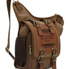 Brown Canvas Leather Packs for Men Durable Military Postman Thick Canvas Bags