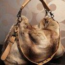 Brown Large Bag Multipurpose Fashion Faux Fur Purse Tote Bag For Women
