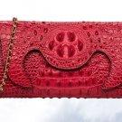 Red Clutch Crocodile Pattern Handmade Genuine Leather