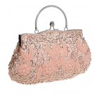 Peach Clutch Evening Shoulder Bags  Exquisite Embroidery Beaded Clutch RSS Fashion Purse for Women