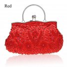 Red Clutch Evening Shoulder Bags Exquisite Embroidery Beaded Clutch RSS Fashion Red Purse for Women