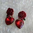 Red Rose Earrings Red Drop Earrings Big Heart and Rose Earrings