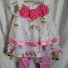 Baby White Dress for Infant Girls 3 Months Spring Dress with Roses Embroidery laced Dresses