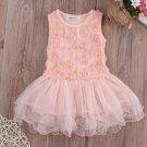 Cotton Dress for Infant Girls 4-6 Months Tutu Rosette Pink Baby Dress Lovely Pink Dress for Girls
