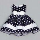 Polka Dots Dress for Toddler Girls Ready for Shipping 4T Girls Dress Navy Blue Formal Wear for Girls