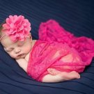 Hot Pink Newborn Props Embroidery Baby Photography Accessories Laced Wraps with Matching Headband
