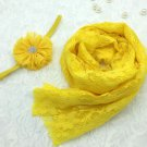 Yellow Baby Props Photography Accessory Swaddle for Baby Wraps with Matching Yellow Headband