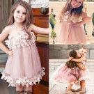 Purple Dress for Girls Formal Wear Casual Wear Photography Props Floral Hem Summer Dress