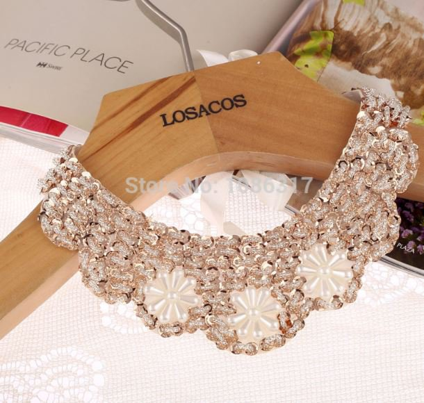 70cm Ivory Sequined Popular Fake Collar Choker Necklace Beaded Necklace Statement