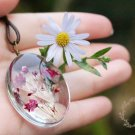 Handmade Dried Flower Summer Glass Necklace  Gypsophila Glass Pendant Leather Necklaces