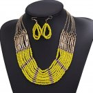 Yellow Collar Small Beads Statement Necklace for Women Multi-layered Tribal Yellow Necklaces
