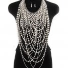 RSS 2018 Fashion Chunky Necklace for Women Pearl Long Scarf Bridal Chain