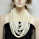 RSS 2018 Exaggerated Multi-layer Pearl Bib Necklace   Mother of the Bride Statement Jewelry