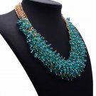 RSS 2018 Silk Bib Necklace Statement Blue Jewelry for Women Chunky Collar Necklaces