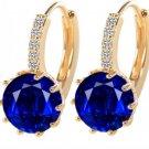 Zircon Hoop Earrings RSS 2018 Faux Diamond Earrings  Royal Blue Stud Earrings Jewelry for Women