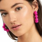 Crisana Earrings Hot Pink Hoop Earrings 2018 RSS Fashion Earrings Fabric Beaded Earrings for Women