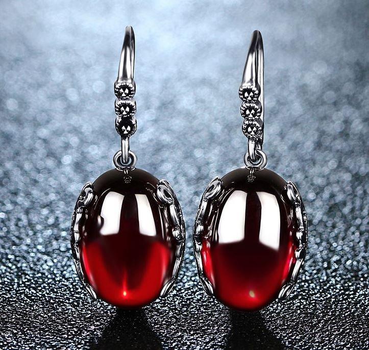 925 Sterling Silver Drop Earrings Garnet Red Earrings Precious Stones 2018 RSS Fashion Earrings
